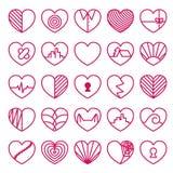 Geplaatste de Pictogrammen van het hart Stock Afbeeldingen