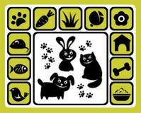 Geplaatste de pictogrammen van het huisdier Stock Foto