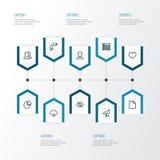 Geplaatste de Pictogrammen van het interfaceoverzicht Inzameling van Gebruiker, Hitte, Vraag en Andere Elementen Omvat ook Symbol Stock Afbeeldingen