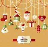 Geplaatste de pictogrammen van het Kerstmisontwerp Gelukkige nieuwe jaarkaart Royalty-vrije Stock Afbeelding