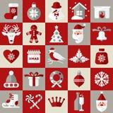 Geplaatste de pictogrammen van het Kerstmisontwerp Gelukkige nieuwe jaarkaart Royalty-vrije Stock Foto