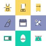Geplaatste de pictogrammen van het keukengereipictogram vector illustratie
