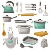 Geplaatste de Pictogrammen van het keukenmateriaal Royalty-vrije Stock Foto's