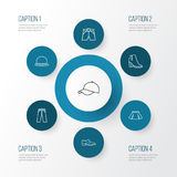 Geplaatste de Pictogrammen van het kledingsoverzicht Inzameling van Fedora, Mini, Memoranda en Andere Elementen Omvat ook Symbole vector illustratie