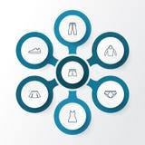 Geplaatste de Pictogrammen van het klerenoverzicht Inzameling van Sweatshirt, Memoranda, Gumshoes en Andere Elementen Omvat ook S vector illustratie