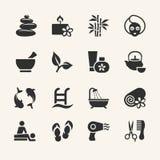 Geplaatste de pictogrammen van het kuuroord royalty-vrije illustratie