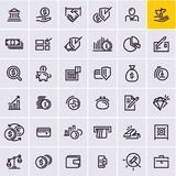 Geplaatste de pictogrammen van het lijnweb, geld en financiënpictogrammen vector illustratie