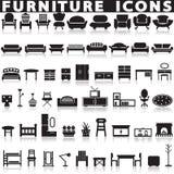 Geplaatste de pictogrammen van het meubilair Royalty-vrije Stock Foto
