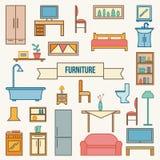 Geplaatste de pictogrammen van het meubilair Royalty-vrije Stock Fotografie