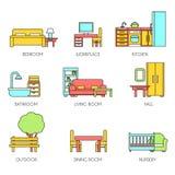 Geplaatste de pictogrammen van het meubilair Stock Fotografie