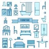 Geplaatste de pictogrammen van het meubilair Stock Foto's