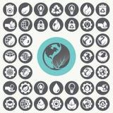 Geplaatste de pictogrammen van het milieu Stock Fotografie