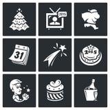 Geplaatste de pictogrammen van het nieuwjaar Royalty-vrije Stock Afbeelding