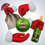 Geplaatste de pictogrammen van het nieuwjaar De Hand van de kerstman Stock Foto