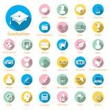 Geplaatste de pictogrammen van het onderwijs Stock Afbeelding