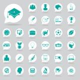 Geplaatste de pictogrammen van het onderwijs Royalty-vrije Stock Foto's