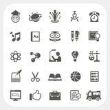 Geplaatste de pictogrammen van het onderwijs Stock Foto