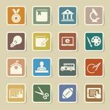 Geplaatste de pictogrammen van het onderwijs. Illustratie. Royalty-vrije Stock Foto's