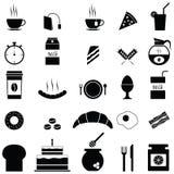 Geplaatste de pictogrammen van het ontbijt vector illustratie
