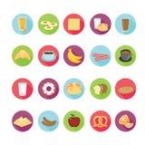 Geplaatste de pictogrammen van het ontbijt Stock Foto's