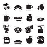 Geplaatste de pictogrammen van het ontbijt Royalty-vrije Stock Afbeeldingen