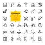 Geplaatste de pictogrammen van het overzichtsweb - bouw, de hulpmiddelen van de huisreparatie Royalty-vrije Stock Foto's