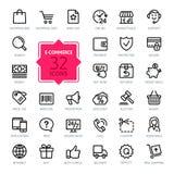 Geplaatste de pictogrammen van het overzichtsweb - Elektronische handel Stock Foto's