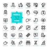 Geplaatste de pictogrammen van het overzichtsweb - Geneeskunde en Gezondheidssymbolen Royalty-vrije Stock Foto's