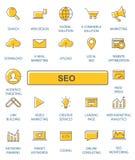 Geplaatste de pictogrammen van het overzichtsweb - SEO Stock Afbeeldingen