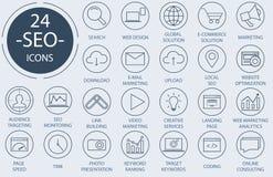 Geplaatste de pictogrammen van het overzichtsweb - Zoekmachineoptimalisering Royalty-vrije Stock Afbeeldingen