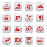 Geplaatste de pictogrammen van het restaurant Stock Foto
