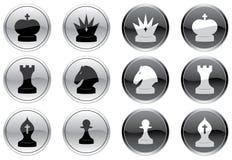 Geplaatste de pictogrammen van het schaak. Stock Fotografie