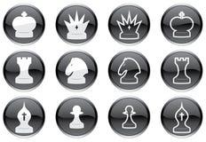 Geplaatste de pictogrammen van het schaak. Stock Foto's