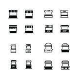 Geplaatste de pictogrammen van het snel voedselkarretje Stock Afbeeldingen