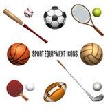 Geplaatste de pictogrammen van het sportmateriaal royalty-vrije illustratie