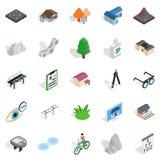 Geplaatste de pictogrammen van het stadsleven, isometrische stijl Royalty-vrije Stock Fotografie