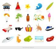 Geplaatste de pictogrammen van het strand Stock Fotografie