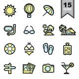 Geplaatste de pictogrammen van het strand vector illustratie