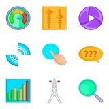 Geplaatste de pictogrammen van het technieksysteem, beeldverhaalstijl Royalty-vrije Stock Afbeeldingen