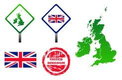 Geplaatste de pictogrammen van het Verenigd Koninkrijk Stock Foto's