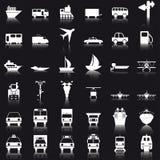 Geplaatste de pictogrammen van het vervoer Stock Afbeeldingen