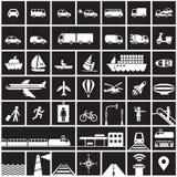 Geplaatste de pictogrammen van het vervoer Stock Foto's