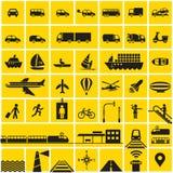 Geplaatste de pictogrammen van het vervoer Royalty-vrije Stock Afbeelding