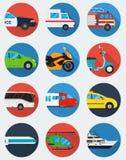 Geplaatste de pictogrammen van het vervoer Gemeentelijk en Reisvervoer Openbaar vervoer Vlakke ontwerpstijl Vector Royalty-vrije Stock Foto