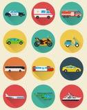 Geplaatste de pictogrammen van het vervoer Gemeentelijk en Reisvervoer Openbaar vervoer Vlakke ontwerpstijl Vector Stock Afbeelding
