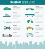 Geplaatste de pictogrammen van het vervoer Van stadsauto's en voertuigen vervoer Auto, schip, vliegtuig, trein Vlak Ontwerp Vecto royalty-vrije illustratie