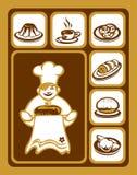 Geplaatste de pictogrammen van het voedsel Royalty-vrije Stock Afbeeldingen