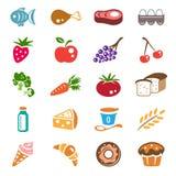 Geplaatste de pictogrammen van het voedsel Stock Afbeeldingen