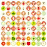 Geplaatste de pictogrammen van het voedsel Stock Foto