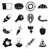Geplaatste de pictogrammen van het voedsel Stock Afbeelding